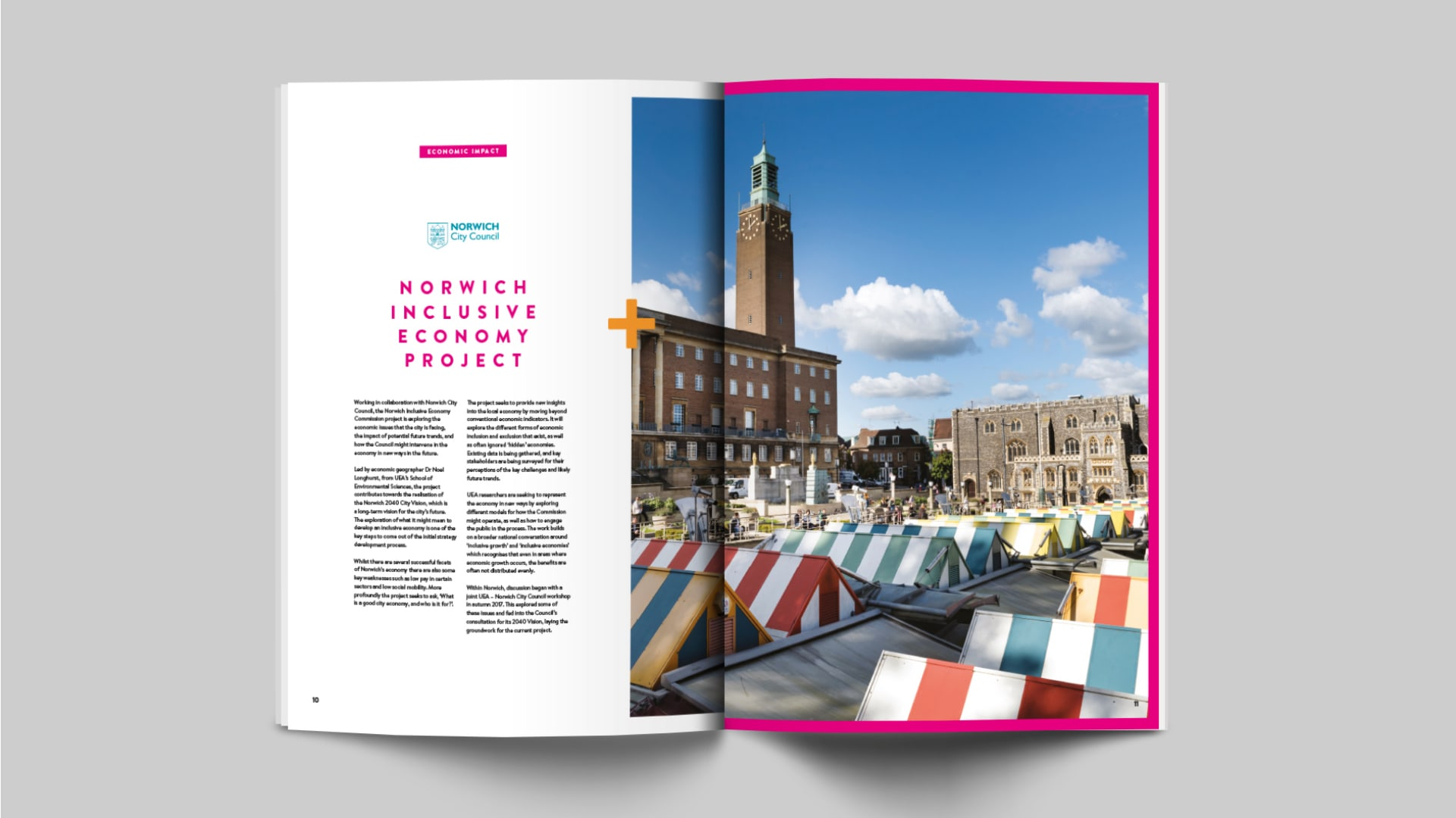 Inner spread of the Norwich Business School Connecting People + Places brochure