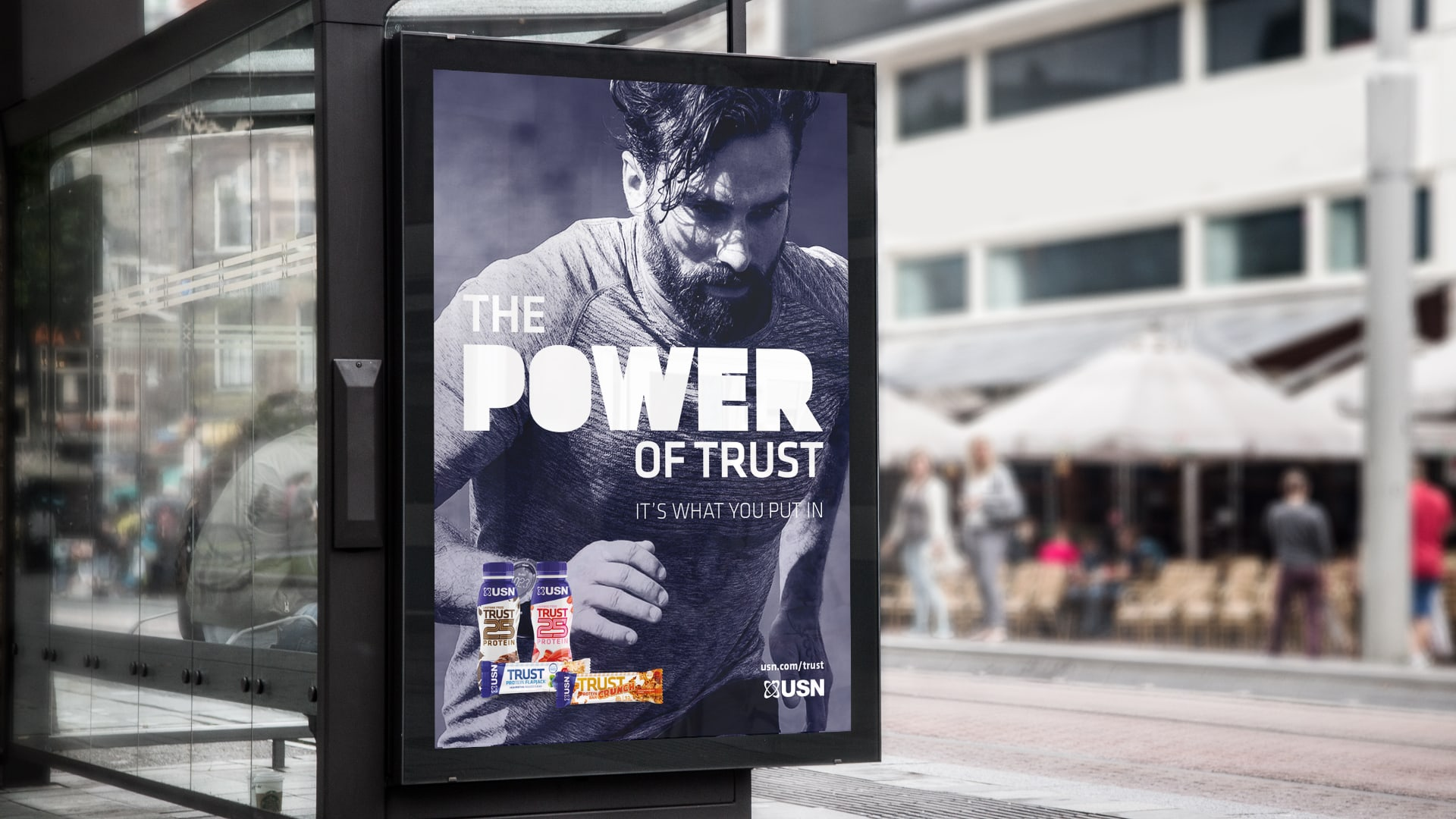USN The Power of Trust 6 sheet advertising at a bus stop feature Ant Middleton
