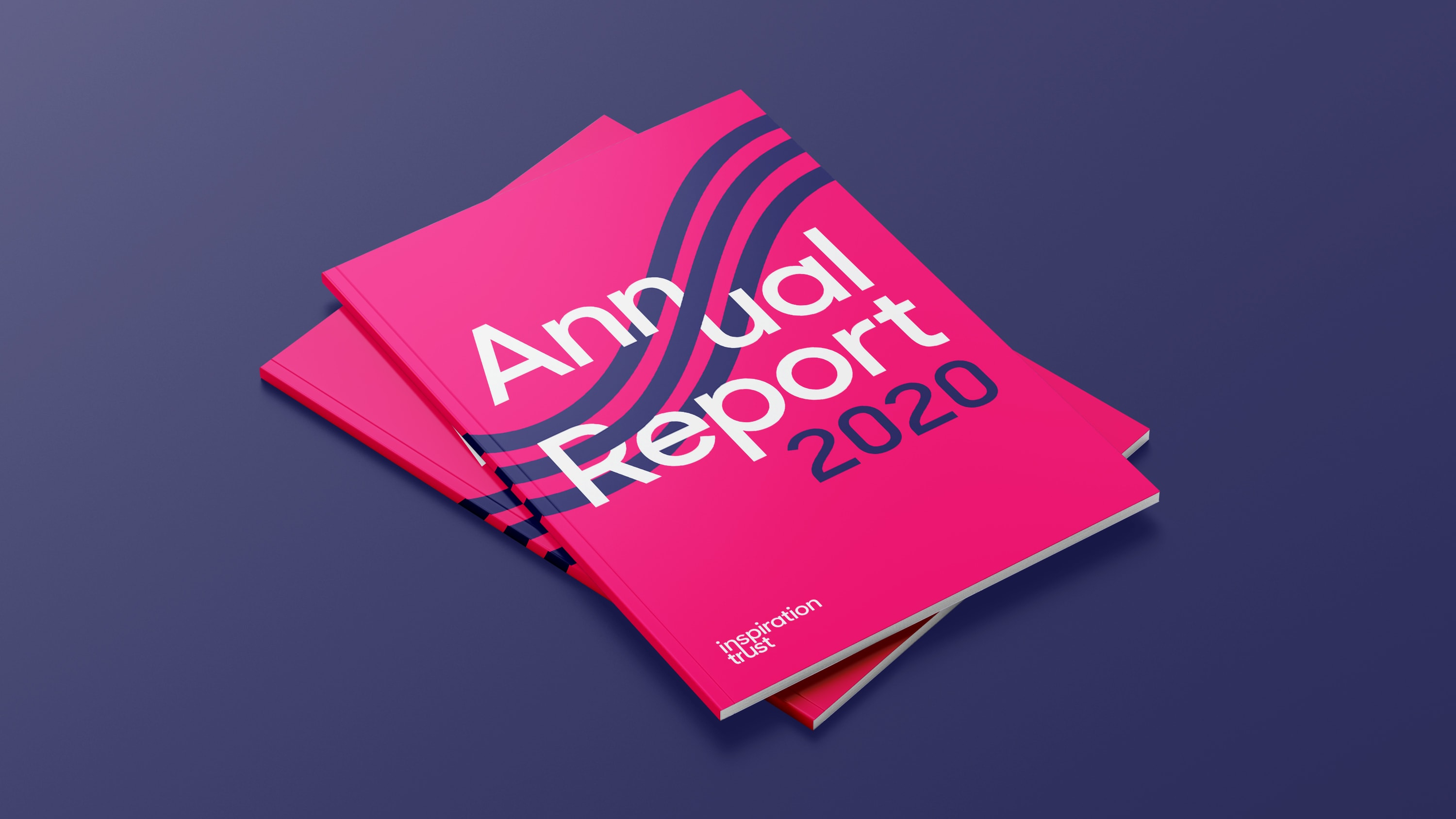 Inspiration Trust annual report 2020 on blue background