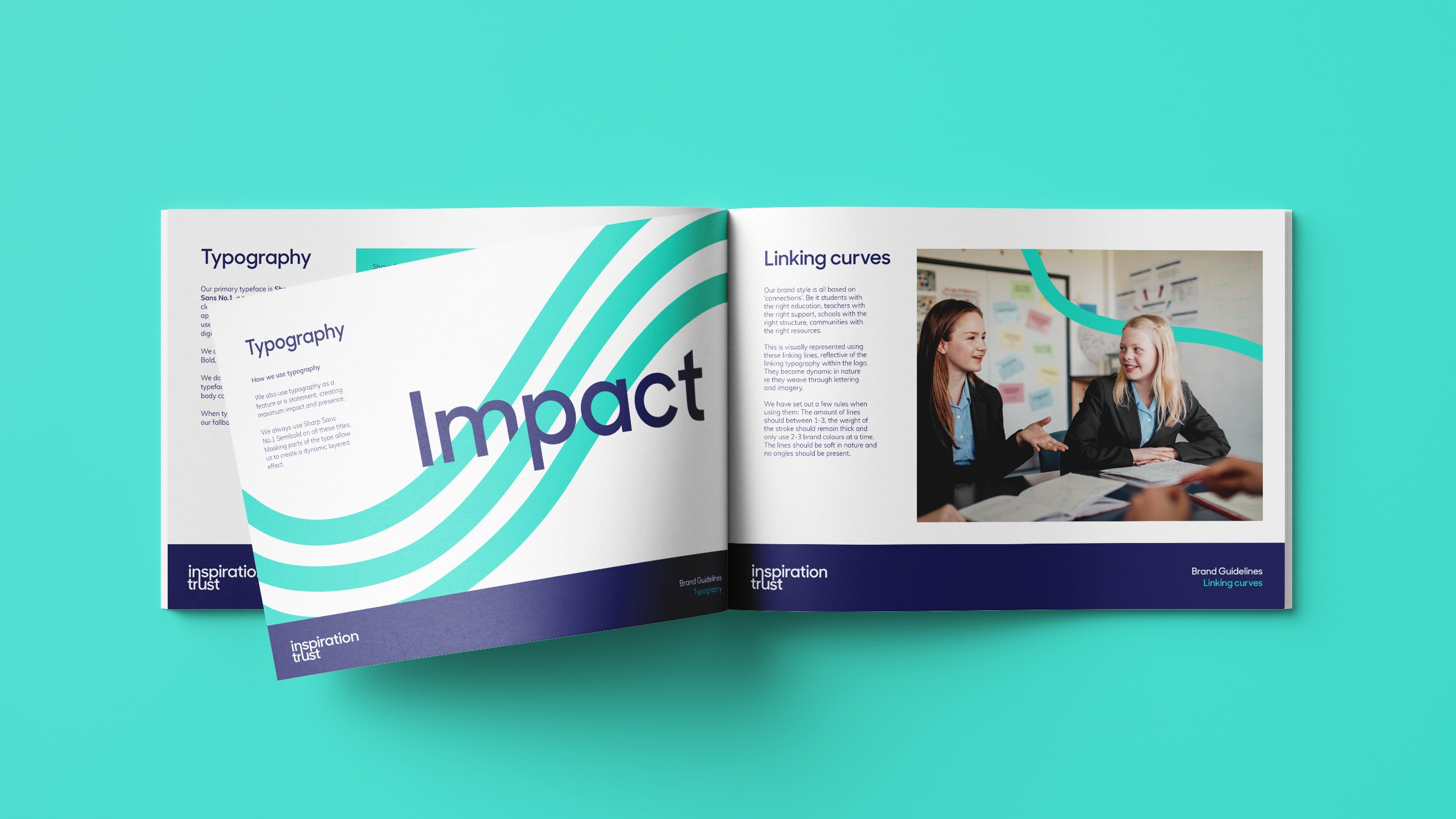 Inspiration Trust brand guidelines showing typography and graphic style