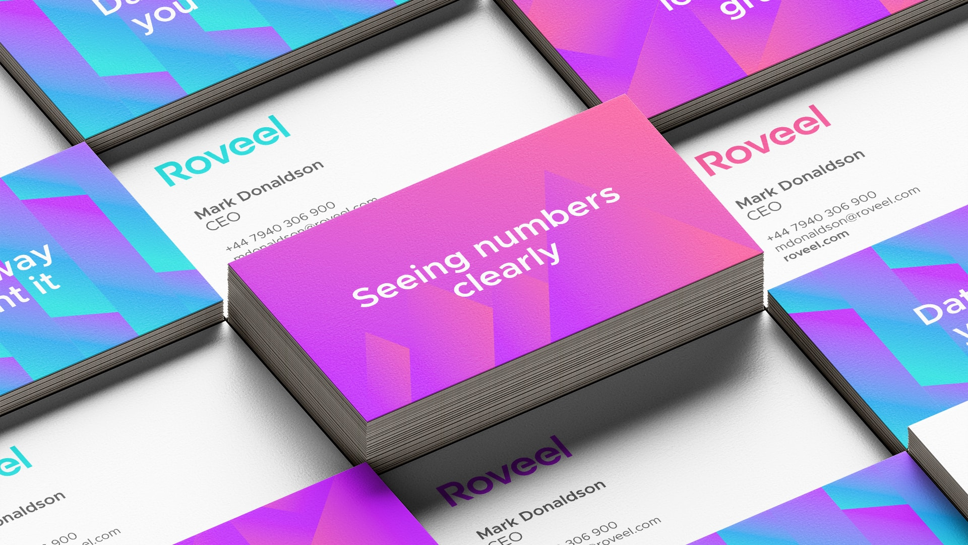 Roveel branded business cards showing front and back designs